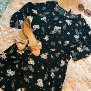 H&M Black/pink floral dress
